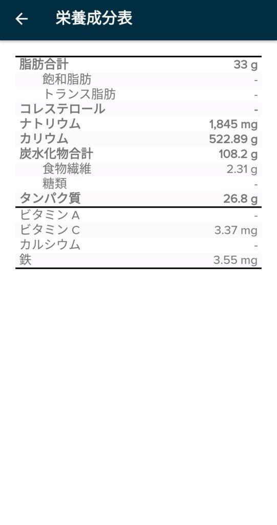 Fitbitの栄養成分